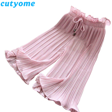 Cutyome Teenage Girls Summer Wide Leg Pants Toddler Kids Loose Pleated Chiffon Children Clothes Leggings Trousers 12