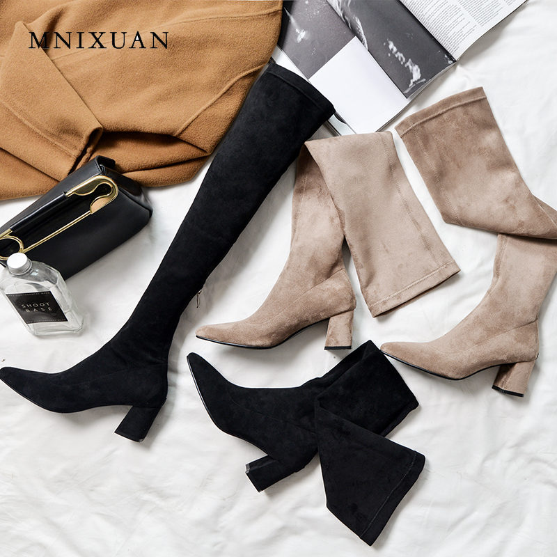 MNIXUAN Sexy high quality women long boots shoes winter 2018 pointed toe stretch velvet over the