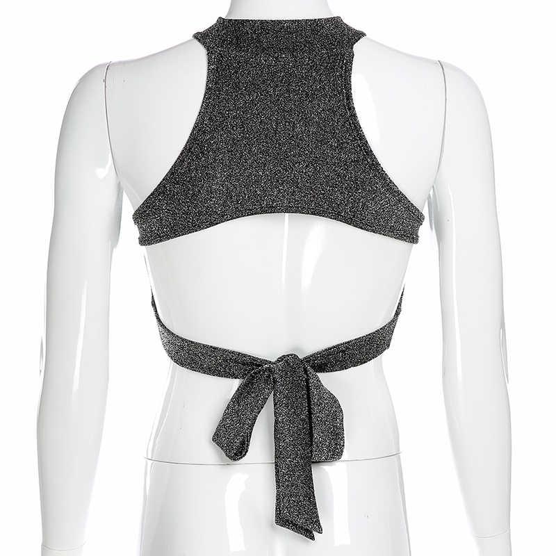 HEYounGIRL sans manches dos nu femmes débardeur Lurex paillettes Crop hauts t-shirts attacher Sexy Mini gilet haut d'été Streetwear fête