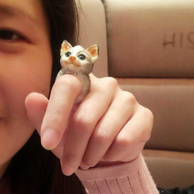 Модная японская версия милое объемное кольцо с животным открывающимся кольцом белка свинка Ежик панда кольцо с фигуркой попугая оптовая продажа