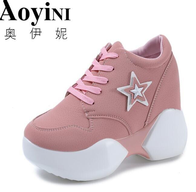 Ladies High Platform Sneakers Shoes 2018 Fashion Hidden Heel Womens Trainers Zapatillas Mujer Plataforma Walking Shoes Women