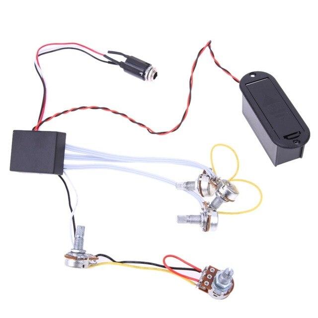 1 Satz EQ Preamp schaltung Bass Preamp 9 V Stromversorgung 3 Band EQ ...