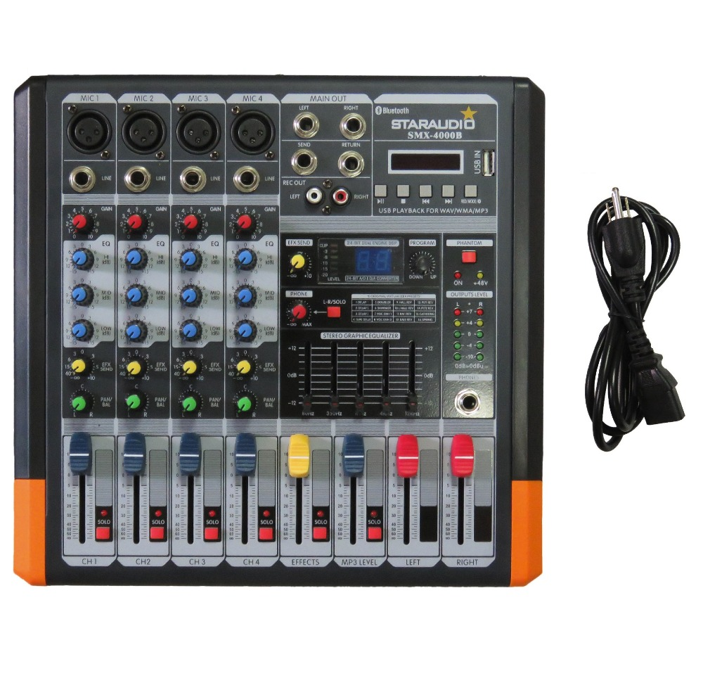 цены STARAUDIO Pro 4 Channel 2000W Live Studio DJ Stage Amplifier Powered Mixer with MP3 Bluetooth USB SD 16 DSP SMX-4000B