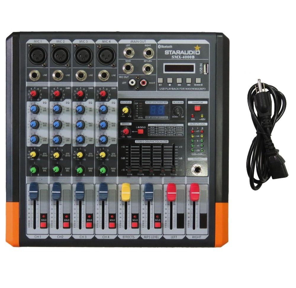 цены STARAUDIO Pro 4 Channel 2000W Live Studio DJ Stage Amplifier Powered Mixer with MP3 Bluetooth USB SD 16 DSP SMX-4000B