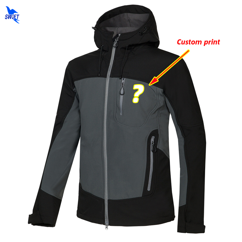 Customize LOGO Winter Soft Shell Jacket Men Outdoor Sport Hoodie Fishing Hunting Skiing Waterproof Warm Fleece Hiking Clothing|Hiking Jackets|   - title=