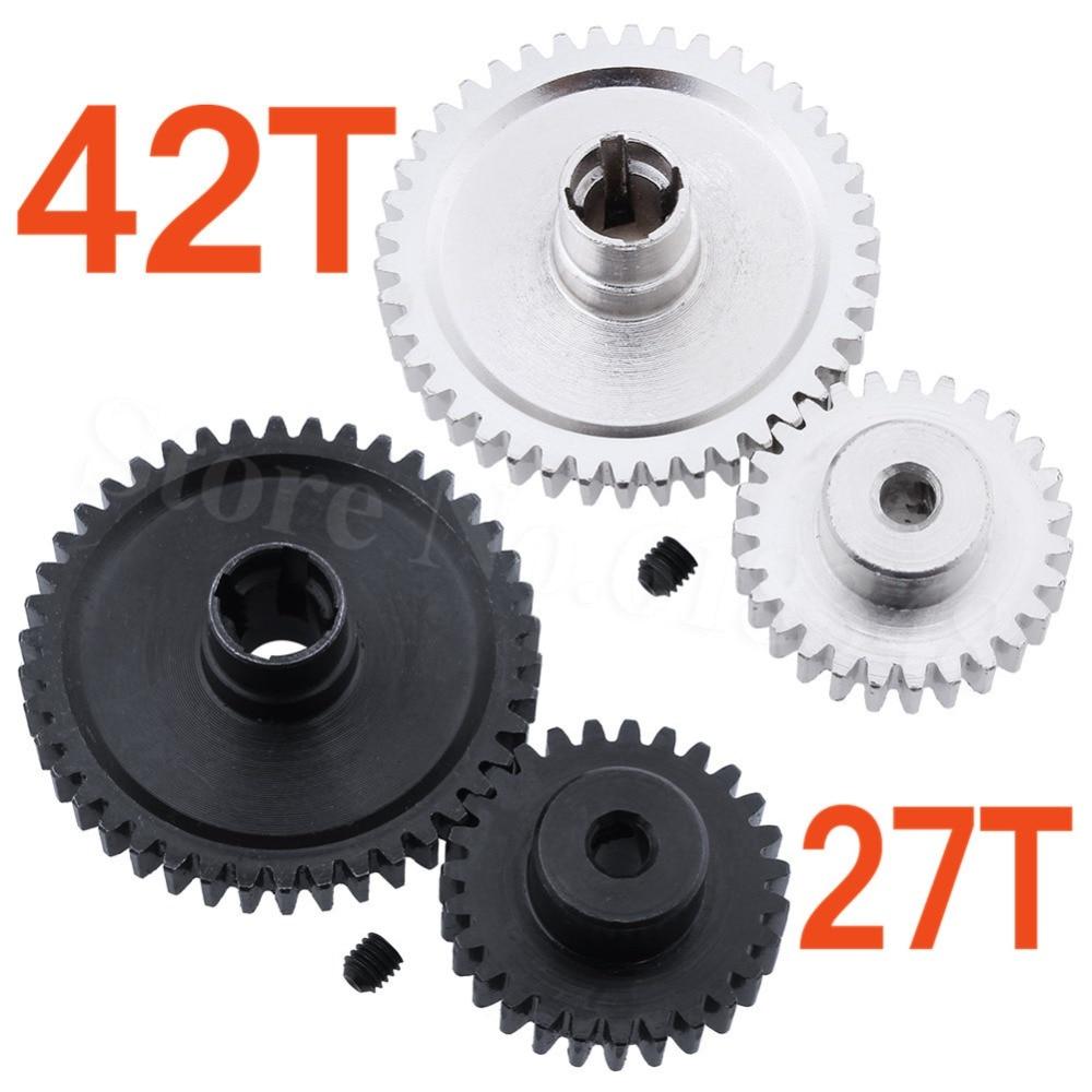 купить 10 Sets Metal 42T Spur Gear Diff Main & Motor Pinion Gear 27T For WLtoys A959-B A969-B A979-B K929-B Upgrade Parts of A959-B-15 по цене 4642.87 рублей