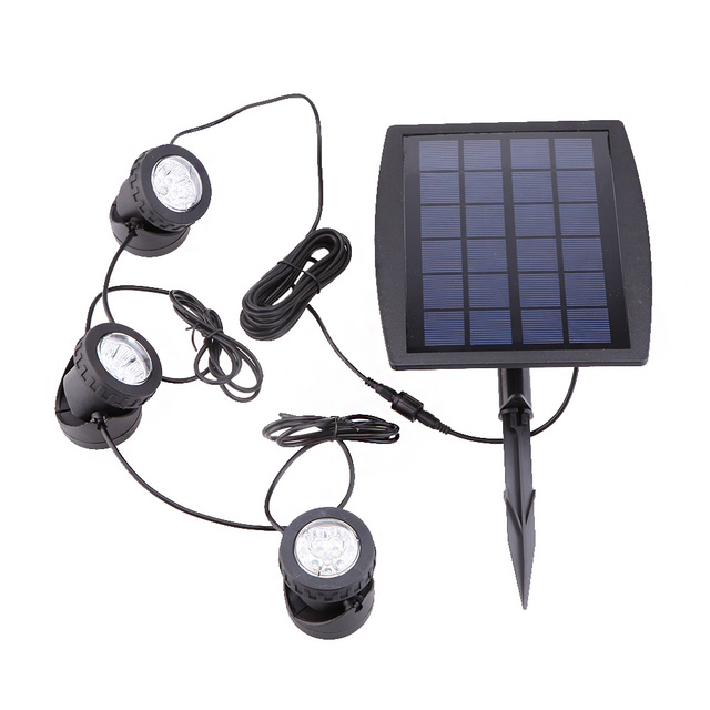 Outdoor Garden Solar Powered 3 RGB LED Spotlight Pool Pond Yard Spot Light Colorful Solar Lamp Environmental-Friendly Lighting
