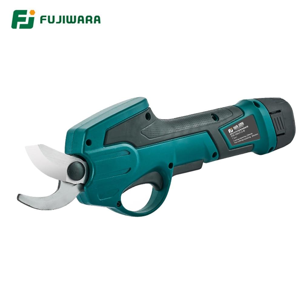 FUJIWARA 7.2V 1300mAh Electric Pruning Scissors 0-25mm Pruning Shears Lithium Battery Garden Pruner