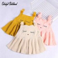 Bé Áo Trẻ Em Vest Dệt Kim Dresses Mới Mùa Thu Thời Trang Style Trẻ Em Quần Áo Hoạt Hình Mèo Sọc Bông Trẻ Sơ Sinh Trẻ Quần Áo