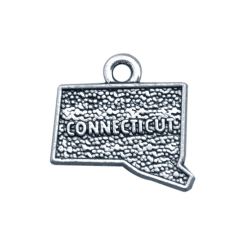 50PCS 2 Style Ancient Silver Connecticut State Dangle Charms Map Dangle Jewelry DIY Accessories For Bracelet&Necklace Jewelry