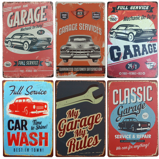 Hot Garage Service Vintage Metal Signs Home Decor Vintage Tin Signs Pub  Vintage Decorative Plates Metal