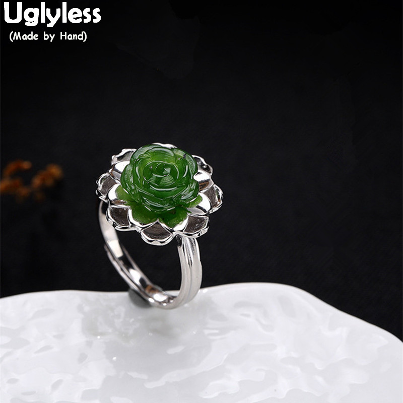 Uglyless Real 925 Sterling Silver Natural Jade Rose Flower Women Finger Rings Handmade Luxury Jasper Fine Jewelry Floral BijouxUglyless Real 925 Sterling Silver Natural Jade Rose Flower Women Finger Rings Handmade Luxury Jasper Fine Jewelry Floral Bijoux