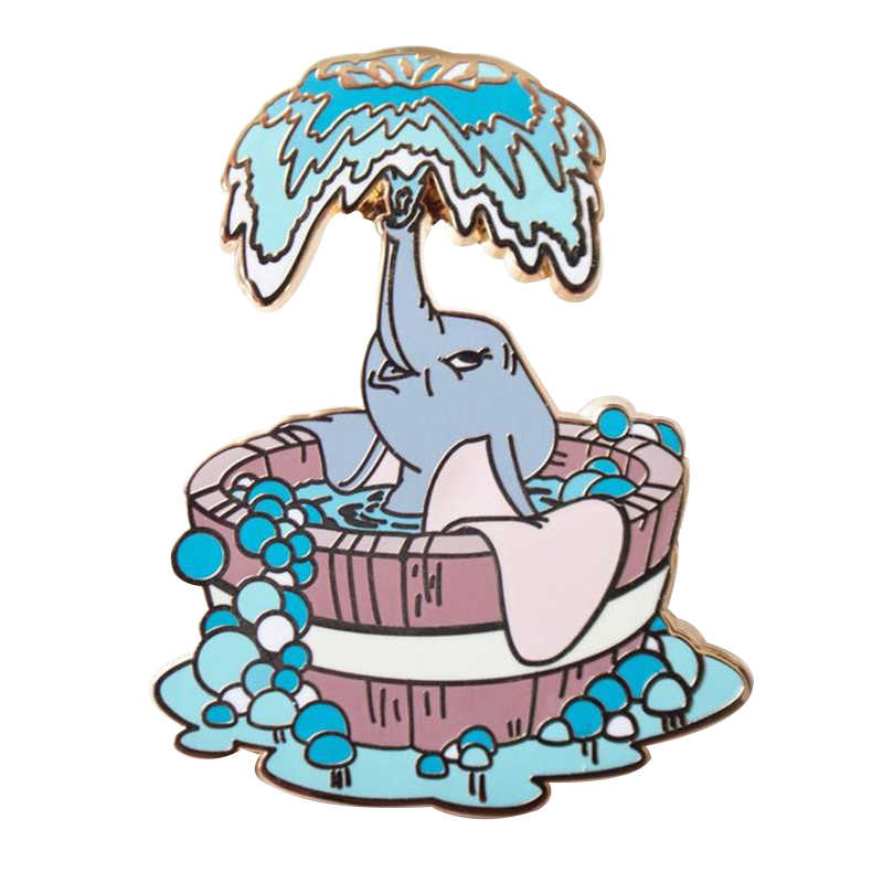 Elephant bath time duro smalto pin