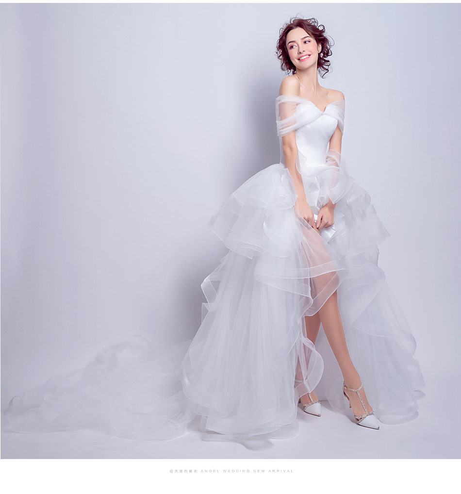 Angel Wedding Dress Marriage Evening Bride Party Prom Bridal Gown Vestido De Noiva 2017 Boat Neck asymmetrical7207 13