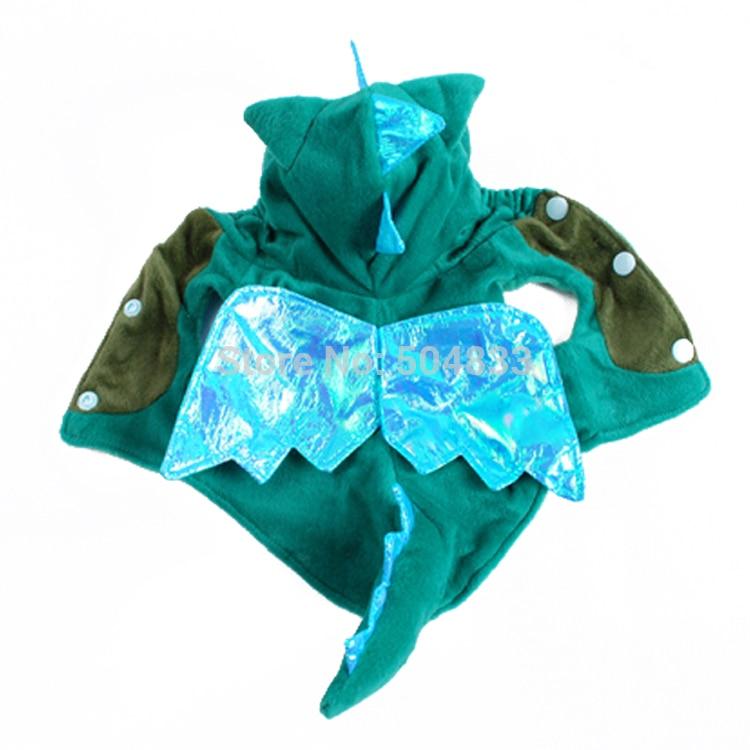 Dino Design Dog Fleece Coat Pet Festival Cosplay Clothes Hoodie Green Blue XS-XL