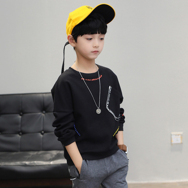 New 2019 boys t-shirts kids long sleeve tees tops clothes solid cotton spring autumn children school t shirt boys kids clothes 4