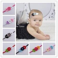 Детская повязка на голову для новорожденных, Тонкая Повязка на голову для новорожденных, эластичный со стразами, тканевая повязка на голову, цветы для головной повязки, Детские аксессуары для волос