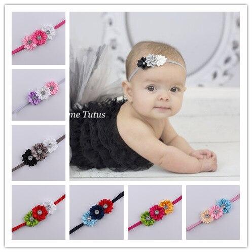 Baby Headband Infant Hairbands Thin Newborn Elastic Rhinestone Headband Fabric Flowers For Headbands Children Hair Accessories
