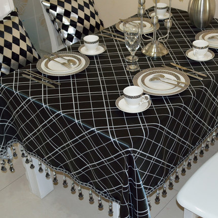Great Hot Sale Modern Contracted Table Cloth Tablecloth Square Rectangle Linen  New Luxurious Gift Black Lattice European Cool Top XM