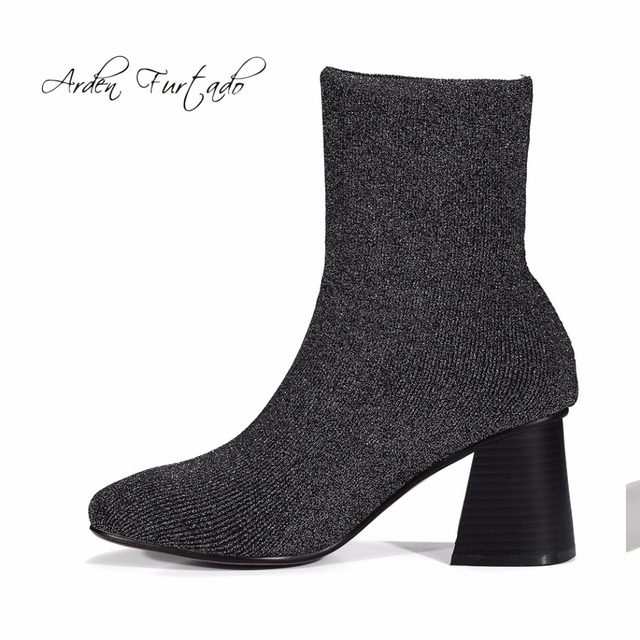 Arden Furtado 2017 spring and fall fashion woman Stretch boots high heels slip on ankle boots shoes for women square heel where can i order clearance store discount genuine rTie6Fu6A