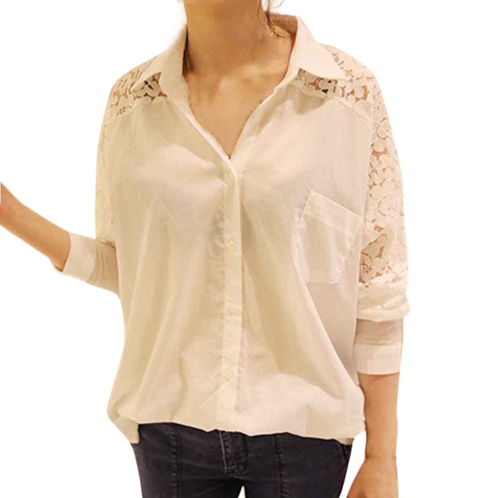 Feitong blouse Women's Plus Size Button Casual Shirt Solid Lace Loose Long Sleeve Blouse Blusas feminina