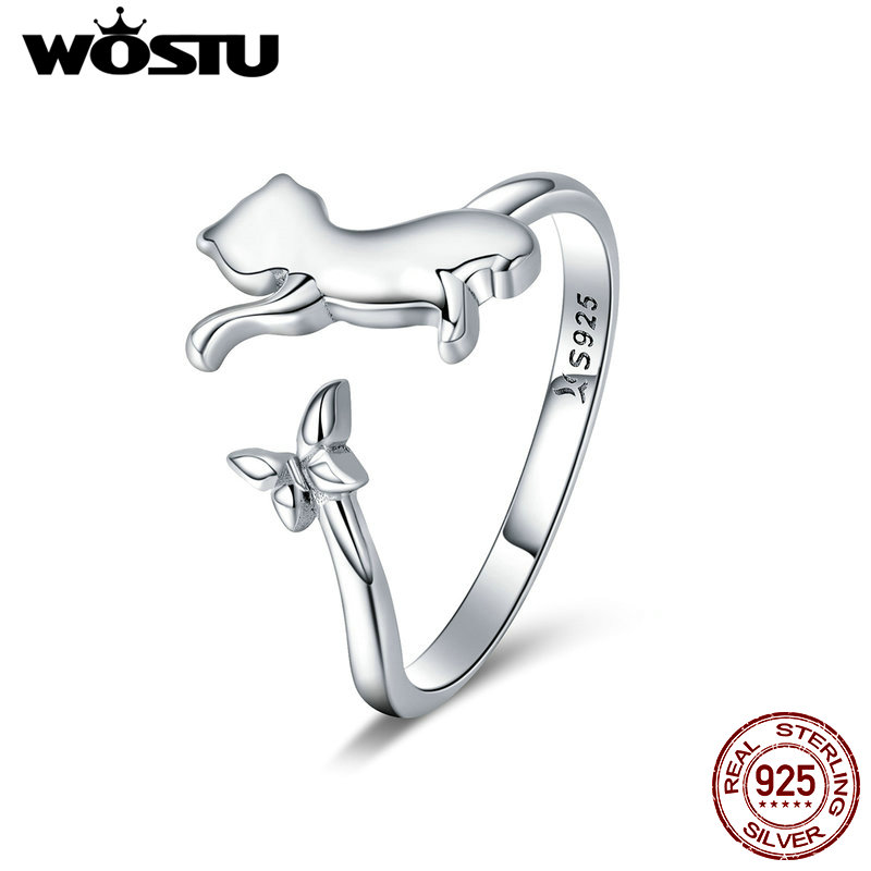 WOSTU Real 925 Sterling Silver Cute Cat & Butterfly Finger Rings For Women Girl Party Ring Anel Fashion Jewelry Gift CQR443