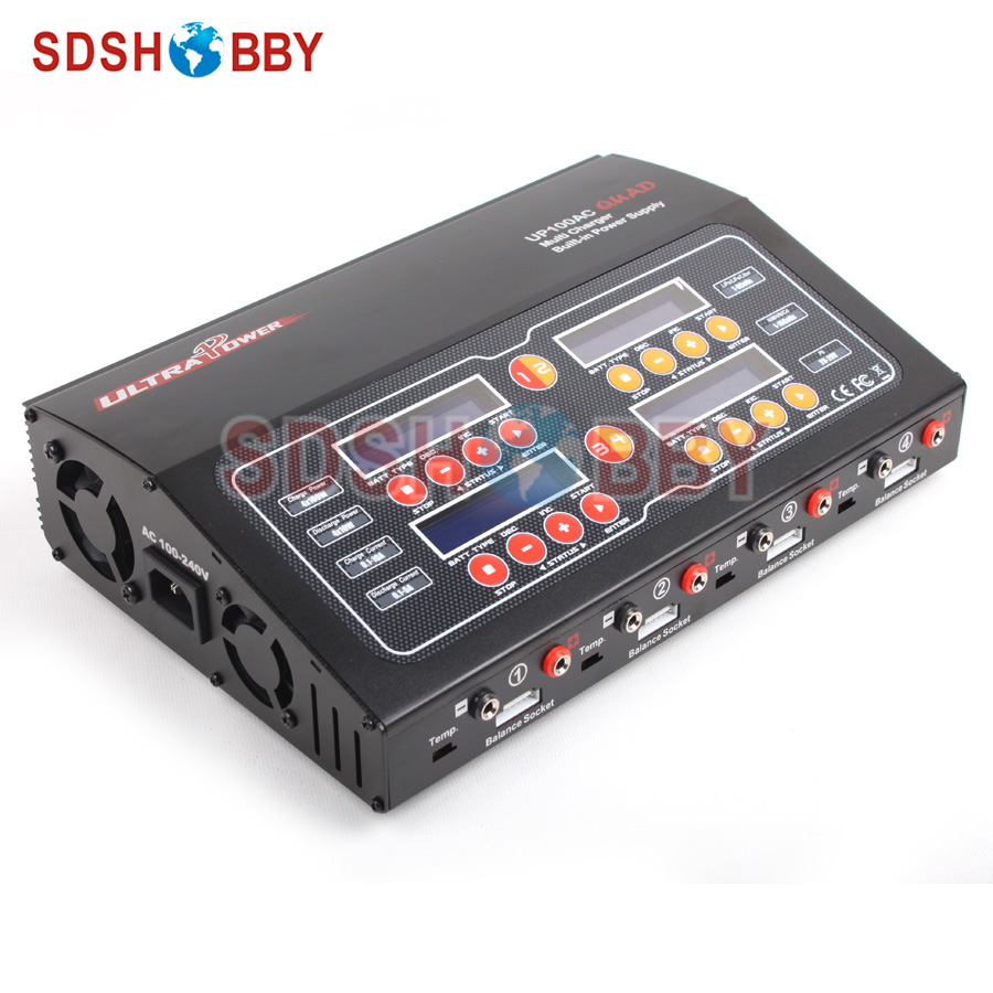 Ultra Power Charger 100W 10A 4-Channel Output / High Power Supply UP100AC QUAD / Lipo Battery Charger Support AC/DC Input ultra power up100ac ac dc plus 100w balance charger