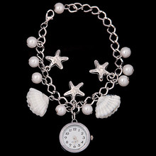 Women's Girl's Jewelry Beads Shell Chain watches Bracelet Cuff Quartz Dress Wrist Watch(China)