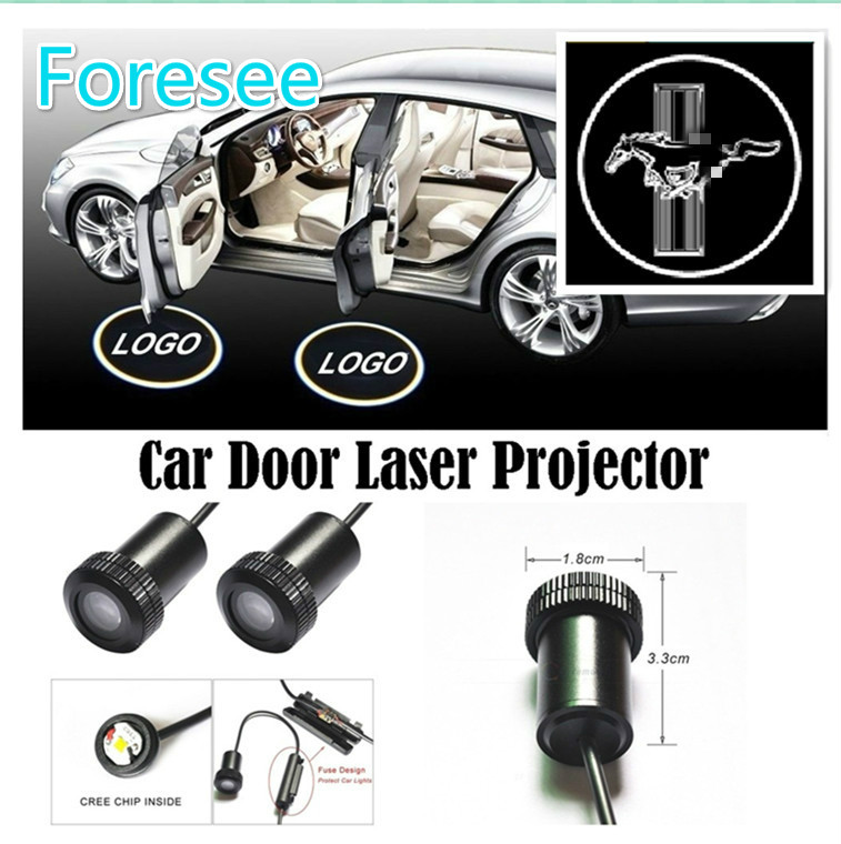 Foresee (For MUSTANG) 2*Universal Ghost Shadow Logo welcome Car LED Door Light Laser Courtesy Slide Projector logo Emblem light