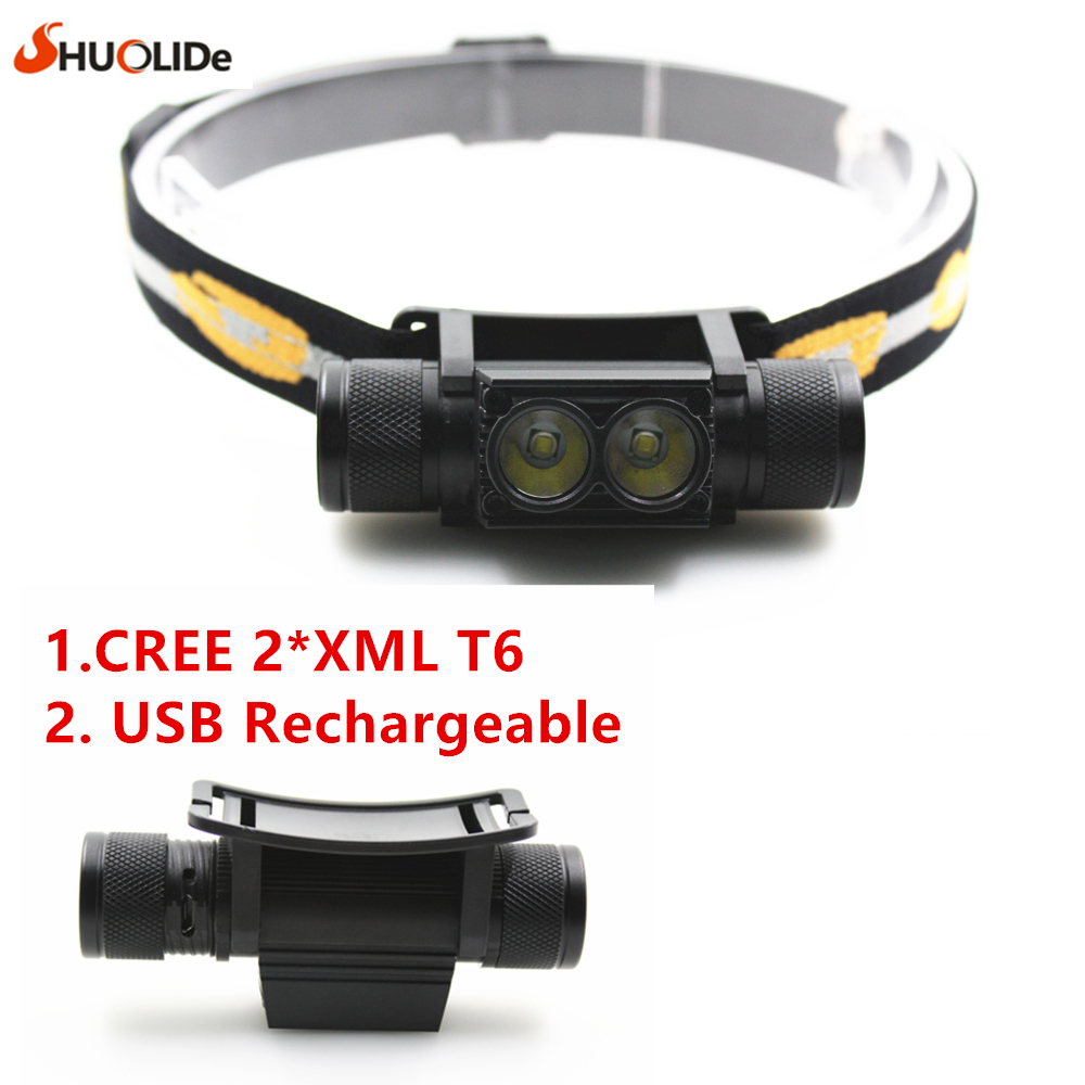2017 New 2* Cree XML T6 USB Rechargeable headlamp Headlights headlight 18650 head lamp for camping led flashlight