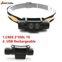 2017 New 2 Cree XML T6 USB Rechargeable Headlamp Headlights Headlight 18650 Head Lamp For Camping