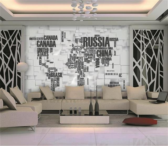 3d wallpaper/custom room mural/photo wallpaper/brick wall map world ...
