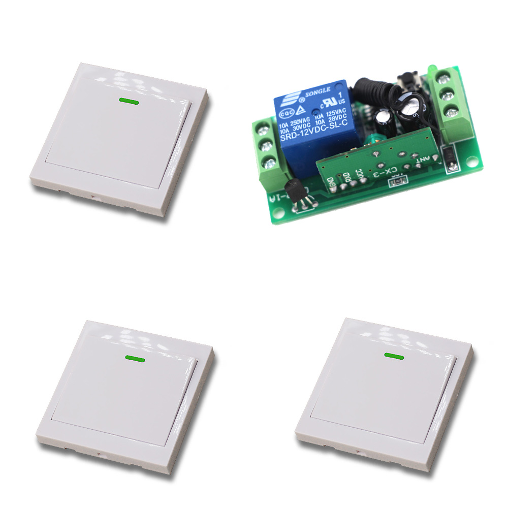 DC 24V 12V 9V 1 Channel Intelligent Home System RF Wireless Remote Control 1 Receiver & 3 Transmitters Learning Code Wall Switch