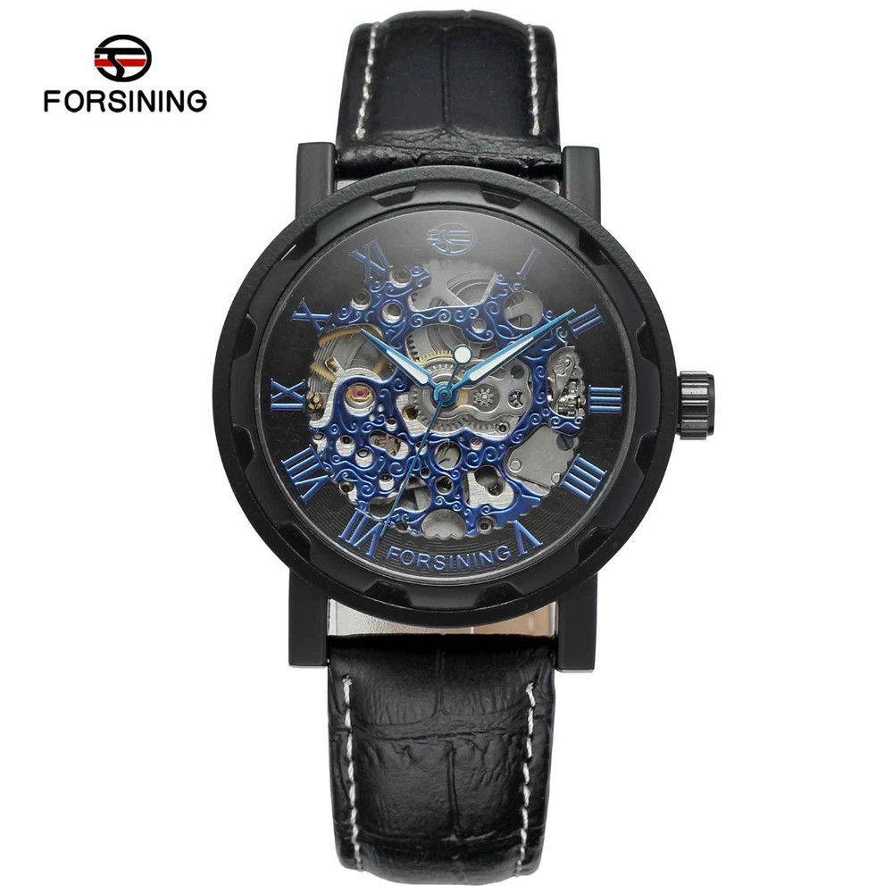 FORSINING Hollow Out Style Classic Mechanical Watch Men Luxury Brand Skeleton Watch Men in Blue Dial Wristwatch Automatic Clock forsining men s watch vogue skeleton mechanical leather analog classic wristwatch color silver fsg8090m3