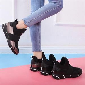 Image 5 - 女性プラットフォームスニーカーファッション加硫の靴夏女性トレーナー通気性ウェッジシューズスリップオンバスケットファム 2020