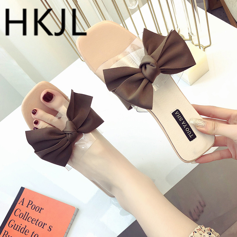 HKJL New Fishmouth Sandals for Summer 2019 Sweet Bow-knot Flat-soled Slippers Leisure Womens A319
