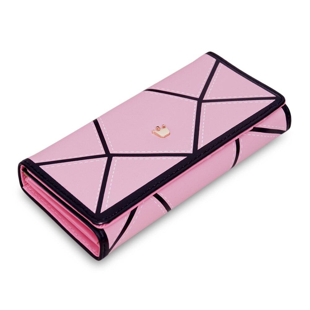 Women PU Leather Hasp Long Geometric Pattern Purse Tri-fold Wallet Card Holder Cash Coin Handbag Best Sale-WT