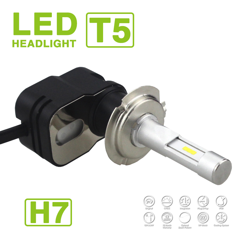 1 Set H7 H1 <font><b>H11</b></font> Turbine T5 <font><b>LED</b></font> <font><b>Headlight</b></font> Headlamps 60W 9600LM CSP Y19 Chips All-in-one Super White 6000K Driving Fog Car <font><b>Bulbs</b></font> image