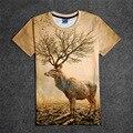 Горячей олень с деревом рога 3D печать хлопок мужская летняя футболки подростков широкий Homme топы природный короны