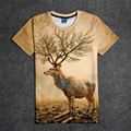 Hot Deer with Tree Horns 3D Print T-shirt Cotton Unisex Summer Tee Shirts Teen Loose Homme Tops  natural crowns
