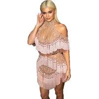 Высокое качество Новые 2017 Barocco взлетно посадочной полосы платье Для женщин плеча экспозиции Сексуальная Перспектива роскошный Тяжелая Бис