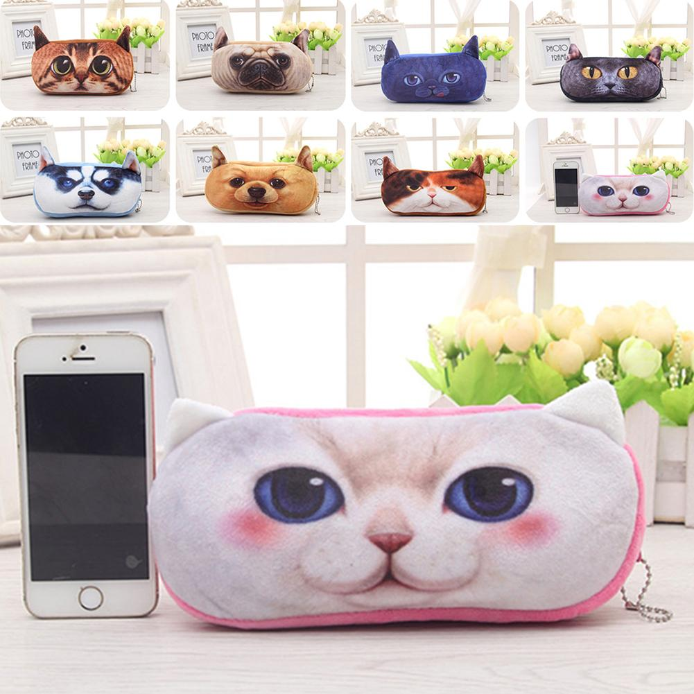 School bag box type - 1 Pc Kawaii 3d Animals Cat Dog School Pencil Bag Case Plush Fabric Stationery Home Office School Bag Gift A2