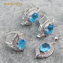 925 серебряные ювелирные наборы для женщин, рождественские небесно-голубые полудрагоценные серьги-кольца, ожерелье, кольцо, рождественский подарок