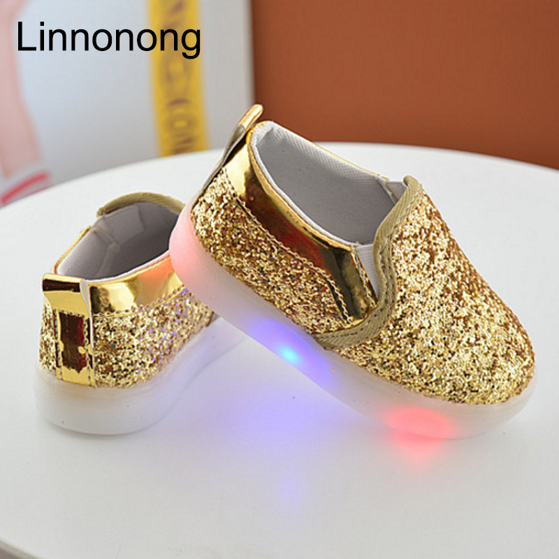 2017 New Baby Children Shoes Kids Led Flash Sneakers Spring Autumn Fashion Sequin Sneakers Girls Princess