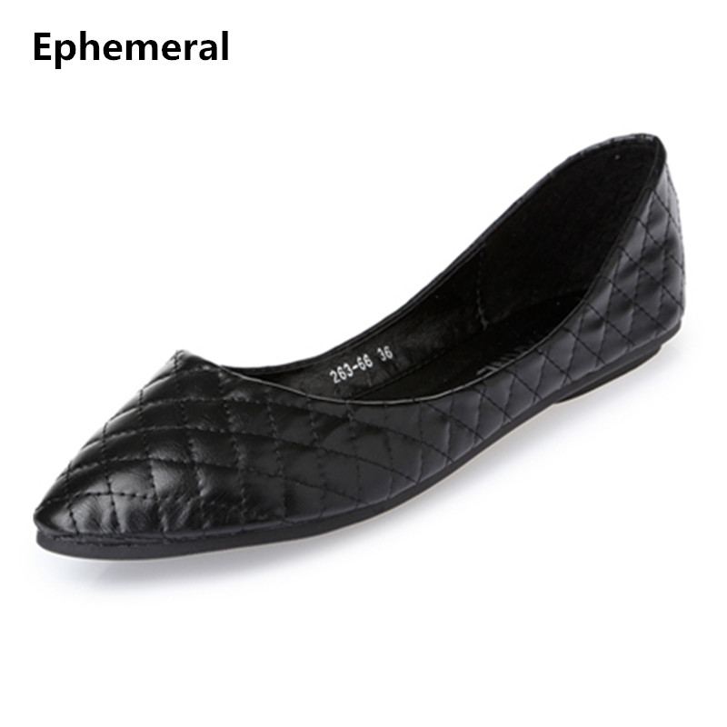 2018 New Arrivals Square Shoes Brand Women Dance Flats Comfortable Slip-on Black White Grey Big Size 10 9 8 Ephemeral Spring