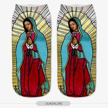 Hot Sale 3D Printed Guadalupe Womens Socks Low Cut cotton Ha