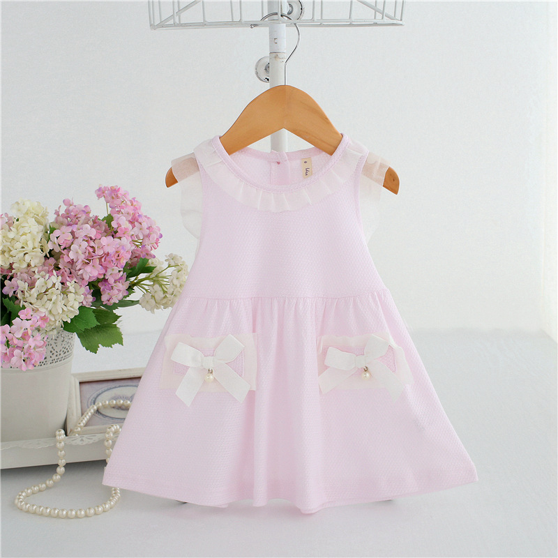 for 0-2Years,SO-buts Infant Baby Girls Ruffle Summer Fly Sleeve Solid Bow Clothes Dresses