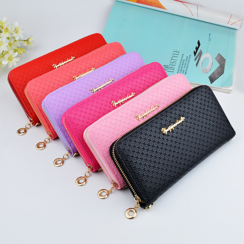 New Fashion PU leather zipper Women Wallets Holder Wristlet Long Style Multi functional wallet daily Purse Female Clutch Card in Wallets from Luggage Bags