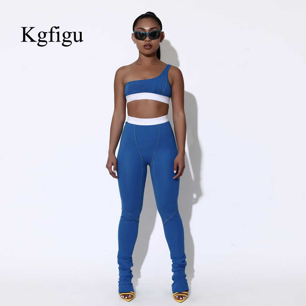 KGFIGU 2 piece set women 2019 summer clothes two piece set top and pants tracksuits casual blue flare pants matching sets