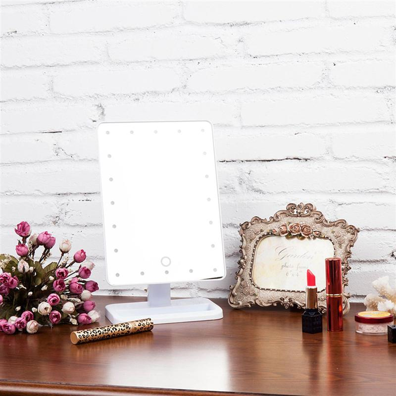 Led Lamps The Cheapest Price Rectangular Beauty Cosmetic Make Up Illuminated Desktop Stand Mirror With 20 Led Light Battery Powered Makeup Mirrors Desk Light Led Table Lamps